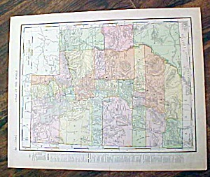 Antique Map Nova Utah & Wyoming 1907 Rand Mcnally