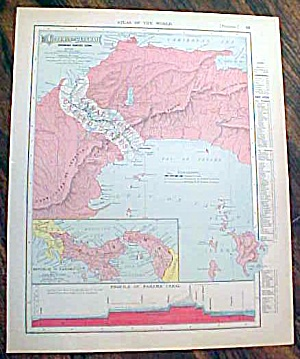 Antique Map Cuba & Panama 1907