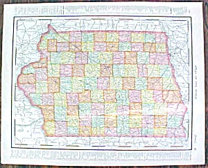 Map Iowa & Missouri 1907 Rand Mcnally