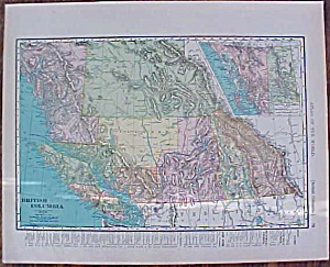 Map British Columbia 1907 Rand Mcnally
