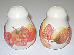 Salt Pepper Shakers Stoneware W/ Autumn Fall Leaves