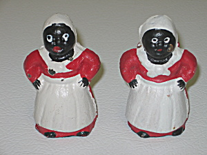 Black Americana Aunt Jemima 2 Mini Cast Iron Banks