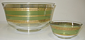 Culver Starlyte Green 22kt Gold Chip & Dip Serving Bowl