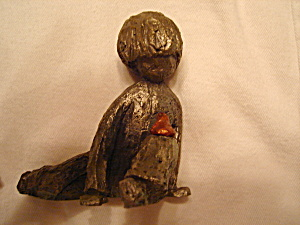 Hudson Walli Pewter Boy With Frog