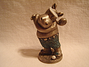 Hudson Pewter Hippo Playing Golf