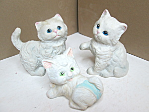 Three Vintage Homco Persian Kitten Figurines No Ribbon