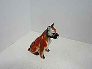 Vintage Sitting Porcelain Boxer Dog Figurine