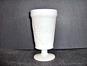 Anchor Hocking Milk Glass Grape Footed Goblet