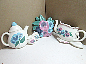 Burwood Teapots & Flowers Wall Hanging