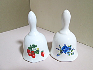 Vintage Porcelain Blue Floral And Strawberry Bells