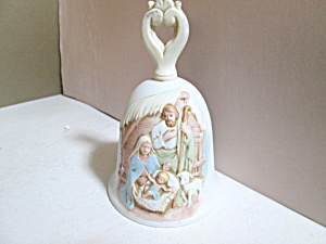 Holiday Homco Embossed Nativity Porcelain Bell