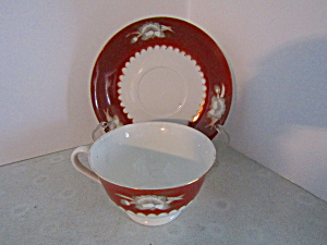 Vintage Oriental Rust & White Cup And Saucer Set