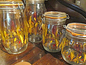 Wheat Glass Canning Jar Canisters Set Made In France