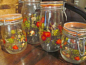 Vintage Canning Jar Canister Set Vegetable Design