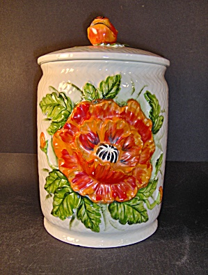 Lefton Large Canister With Poppy Flower Design