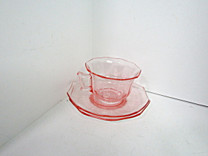 Vintage Cambridge Depression Pink Trio Cup & Saucers