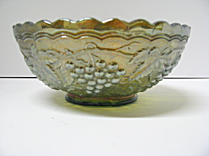 Vintage Imperial Glass Amber/marigold Grape Bowl