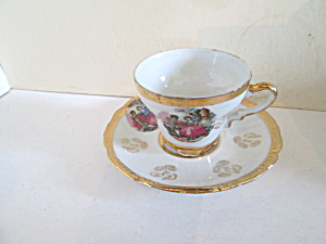 Vintage Colonial Courting Couple Small Cup & Saucer Set