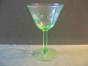 Vintage Clear Green Stemed Wine Glass