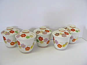 Oriental Japanese Floral Pattern Covered Tea Cups