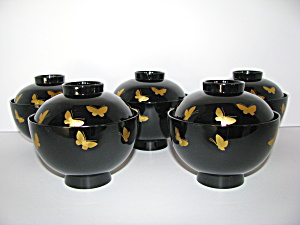 Japanese Butterfly Lacquer Wood Rice Bowl Set