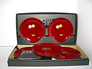 Hanae Mori Chiki Chic Japanese Lacquer Wood Plate Set