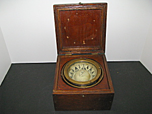 Antique 1917 Us Navy Wooden Box Compass