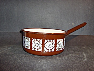 Vintage Enamelware Graniteware Brown/white Pan