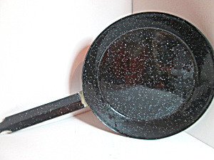 Vintage Graniteware Black Speckled Skillet