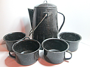 Metalware Handled Camping Black Coffee Pot And Cups