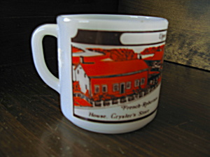 Federal Glass Heavy White Upper Canada Village Mug