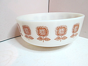 Federal Glass Heavy White/ Brown Large Flower Bowl