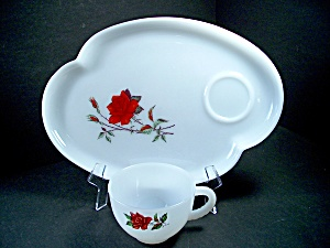 Federal Glass Rose Crest Snack Set