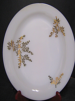 Federal Glass Milk Glass Gold Leaf Platter