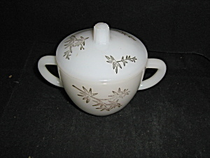Federal Glass Milk Glass Gold Leaf Covered Sugar Bowl