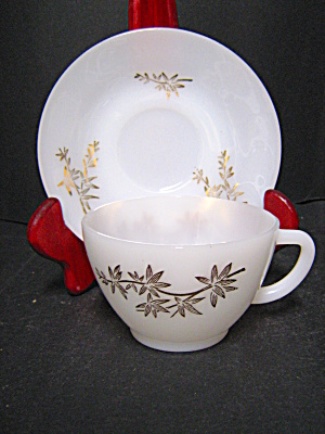 Federal Glass Milk Glass/gold Leaf Cup & Saucer Set