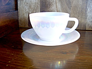 Vintage Federal Glass Moonglow Tea Cup/saucer Set