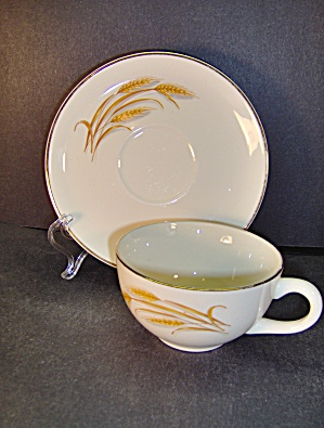 Vintage Homer Laughlin Golden Wheat Cup & Saucer Set