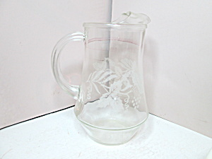Vintage Clear Glass Etched Water/juice Pitcher