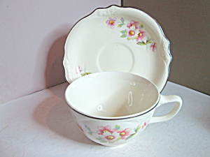 Vintage China Homer Laughlin Virgina Rose Cup & Saucer