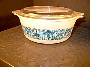 Vintage Pyrex Small Covered Casserole Horizon Blue