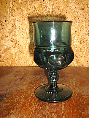 Indiana/colony Blue Thumbprint/crown Goblet