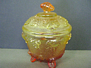 Vintage Jeannette Glass Amberina Footed Candy Dish