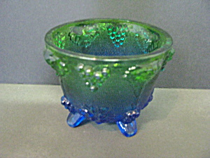 Vintage Jeannette Glass Blue Footed Candy Dish