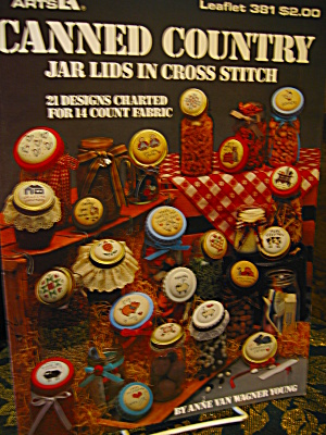 Leisure Arts Canned Country Jar Lids Cross Stitch #381