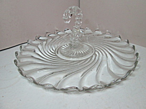 Vintage Fostoria Colony Swirl Center Handled Snackplate