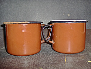 Vintage Graniteware Enamelware Brown Coffee Mugs