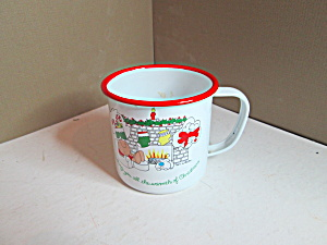 Vintage White Enamel Ware Ziggy And Fuzz Cup