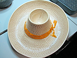 Vintage Usa Strawhat Sombrero Chip & Dip Bowl