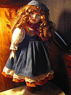 Angelina Porcelian Blue Denim Doll